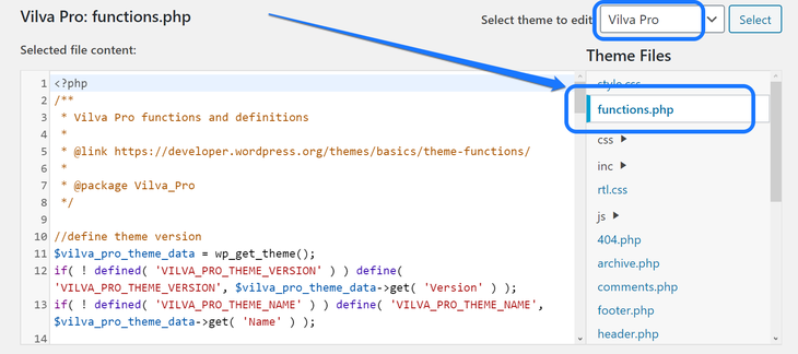 Pointing at the functions.php option in the Theme Editor page of WordPress