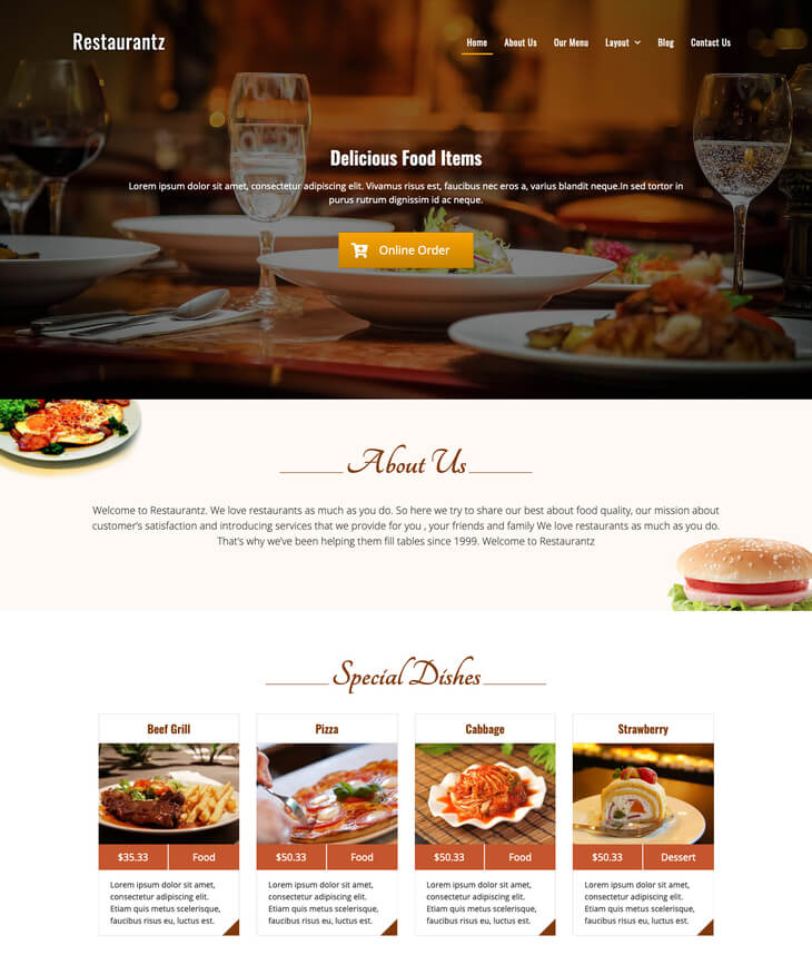 Restaurantz Free WordPress Theem