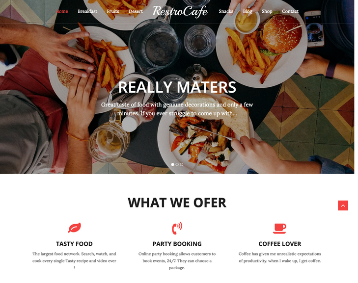 Restro Cafe Free WordPress Theme