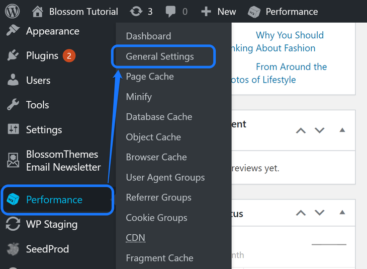 Selecting the General Settings option inside the Performance option in WordPress sidebar