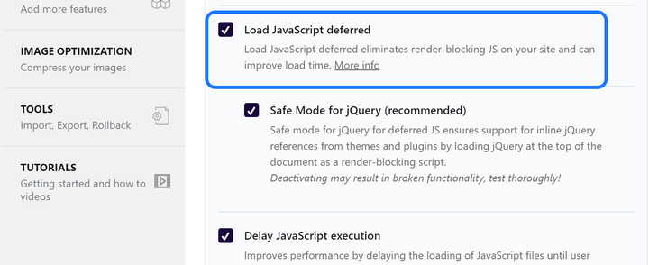 Selecting the Load JavaScript deferred option inside the File Optimization page of WP Rocket plugin