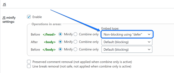 "Selecting the Non-blocking using ""defer"" option of the Before _head_ tag of JS section"