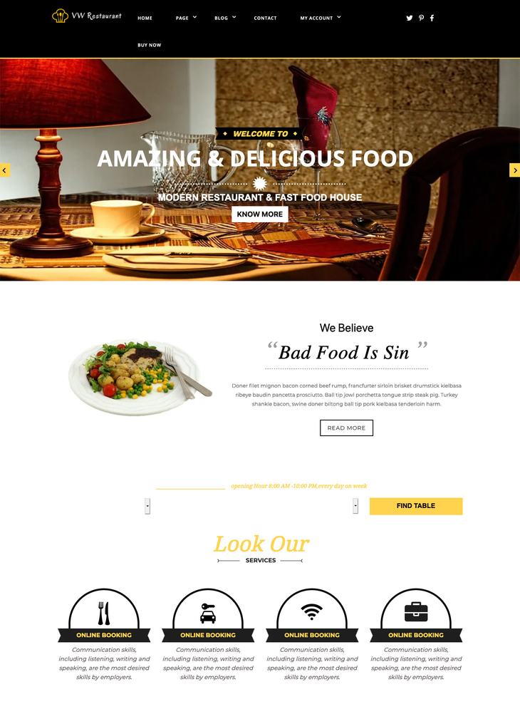 VW Resturant Free WordPress Theme