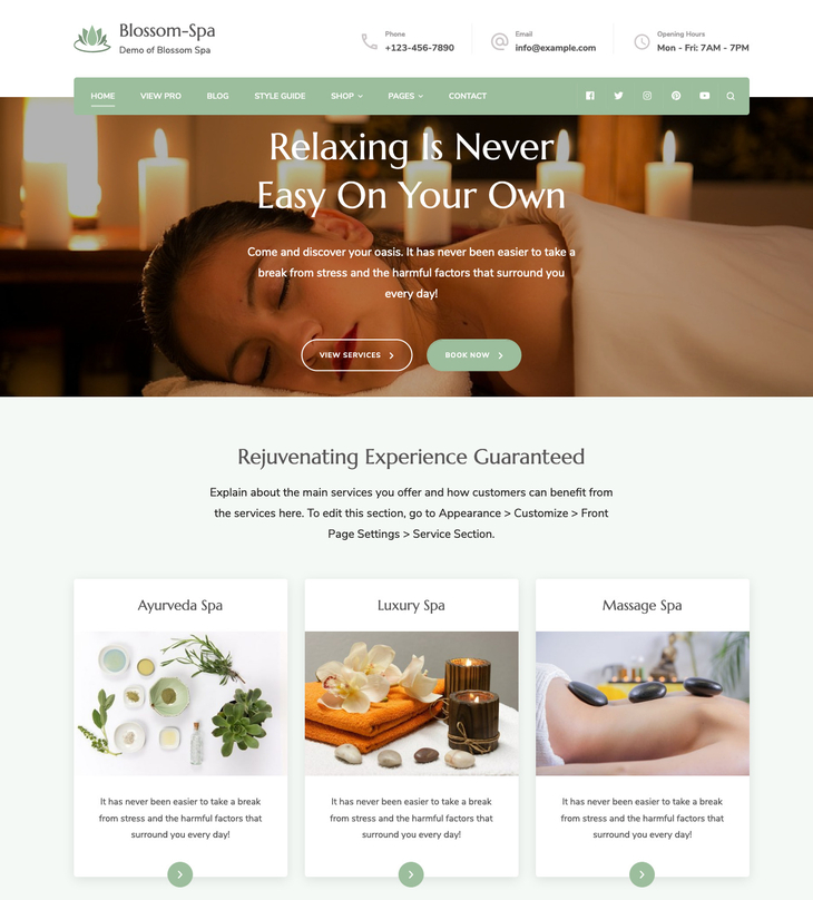 Blossom-Spa Free WordPress Theme
