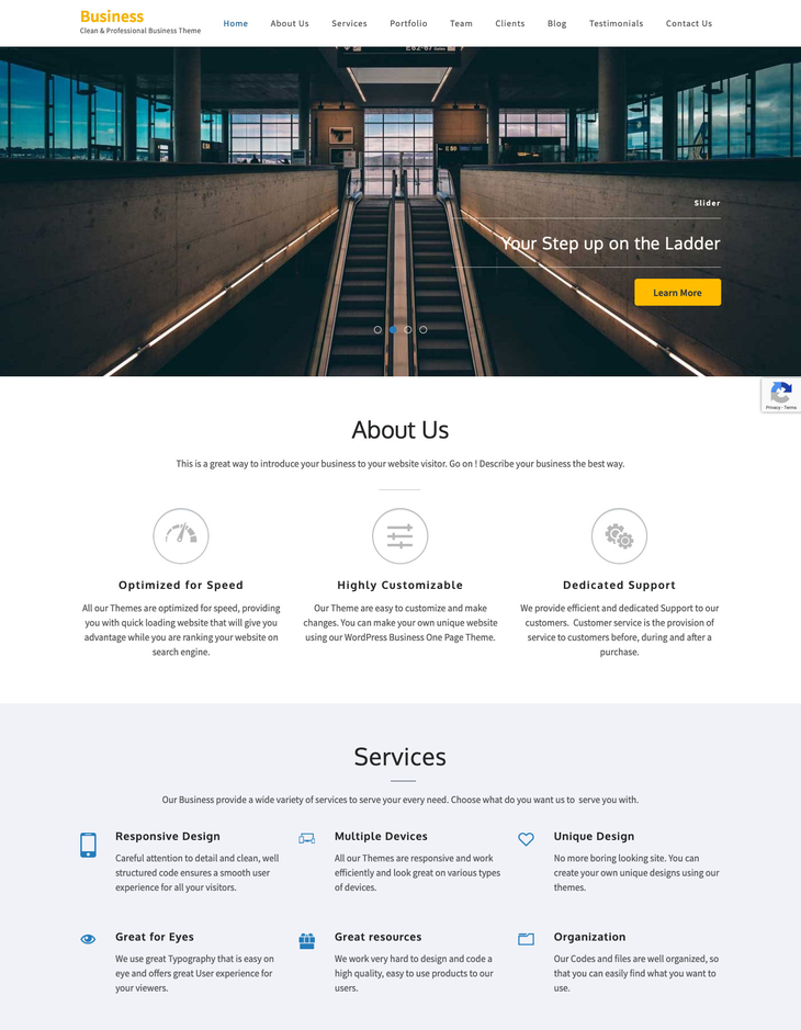 Business One Page Free WordPress Theme (One Page)