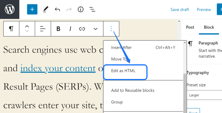 Displaying Edit as HTML button for editing hyperlink in WordPress