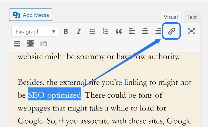 Displaying the Insert_Edit Link button in WordPress classic editor