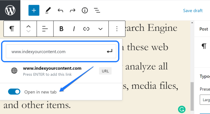 Entering the external website's URL to add hyperlink in the text