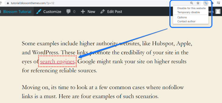 Identifying nofollow links using the NoFollow extension