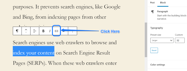 Illustrating the Link button to add hyperlink to the selected text