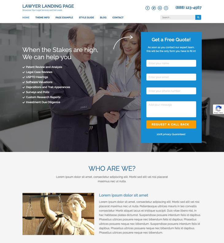 Lawyer Landing Page Free WordPress Theme