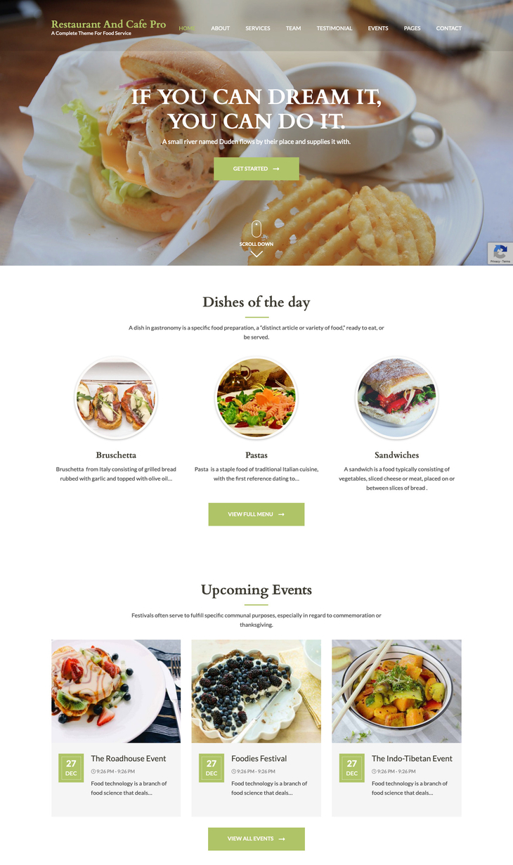Resturant and cafe pro WordPress Theme