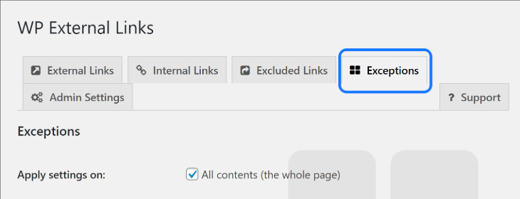 Selecting the Exceptions option in WP External Links' setting