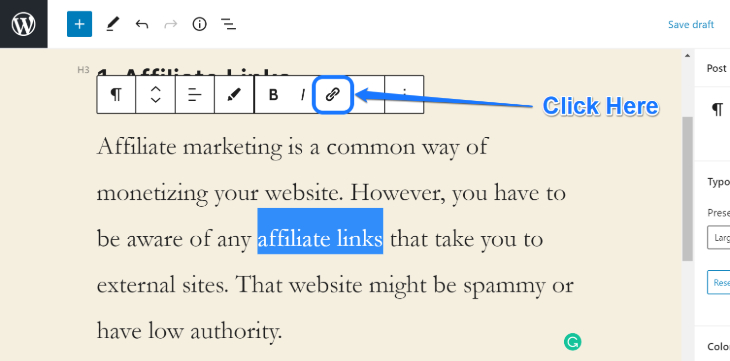 Showing the Add Link button to insert URL of external website