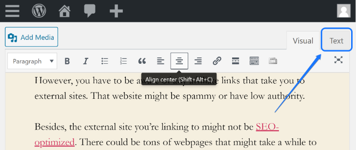 Switching into the HTML mode to edit codes in WordPress