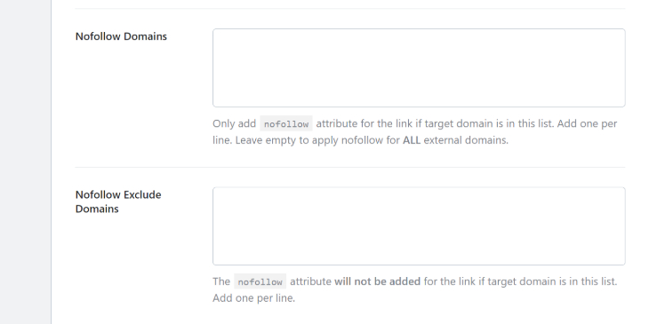 Text boxes in RankMath's General Settings page for nofollow tag