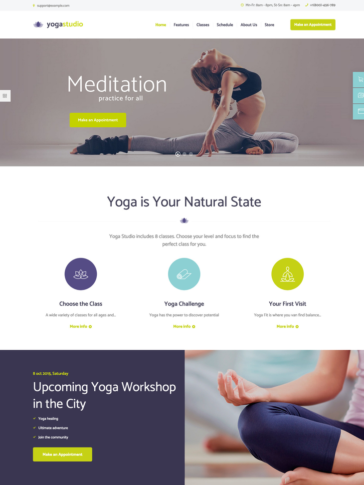 Yoga studio WordPress Theme