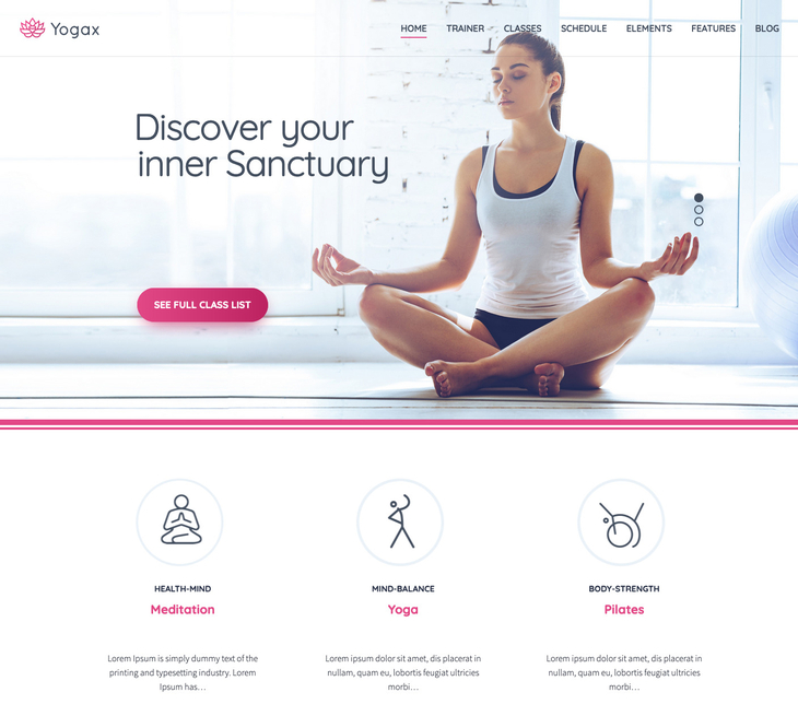 Yogax WordPress Theme