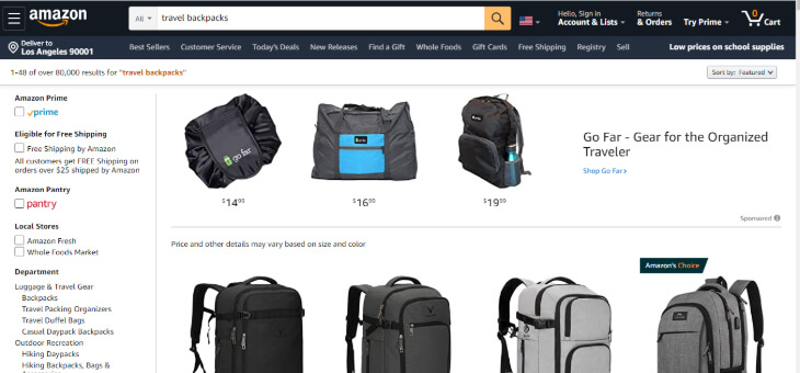 Search result of backpacks in Amazon