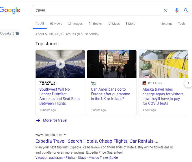 search result of travel in google