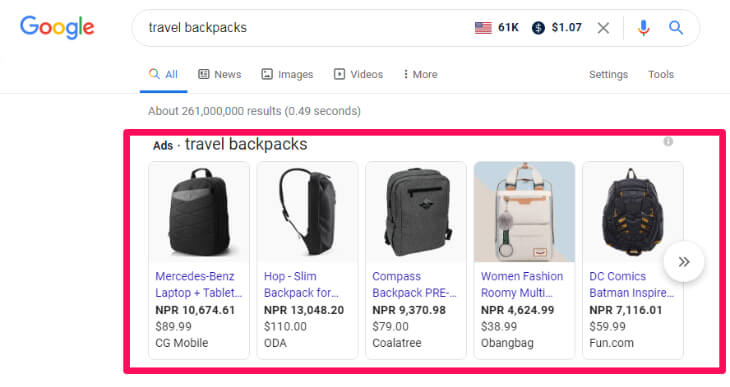 Search result of travel backpacks