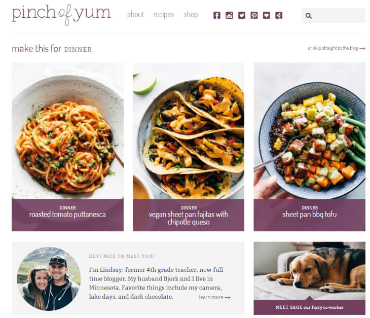 example of a successful blog in food niche