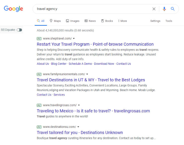 Search result of travel agency
