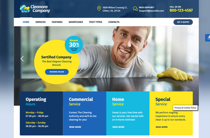 Cleanora Cleaning Service WordPress Theme