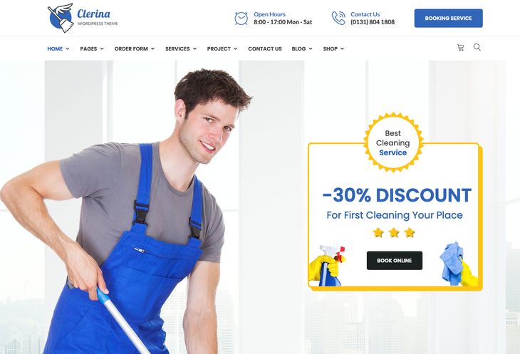 Clerina Cleaning Service WordPress ThemeClerina is an ultra-flexible WordPress theme designed for several cleaning service businesses.