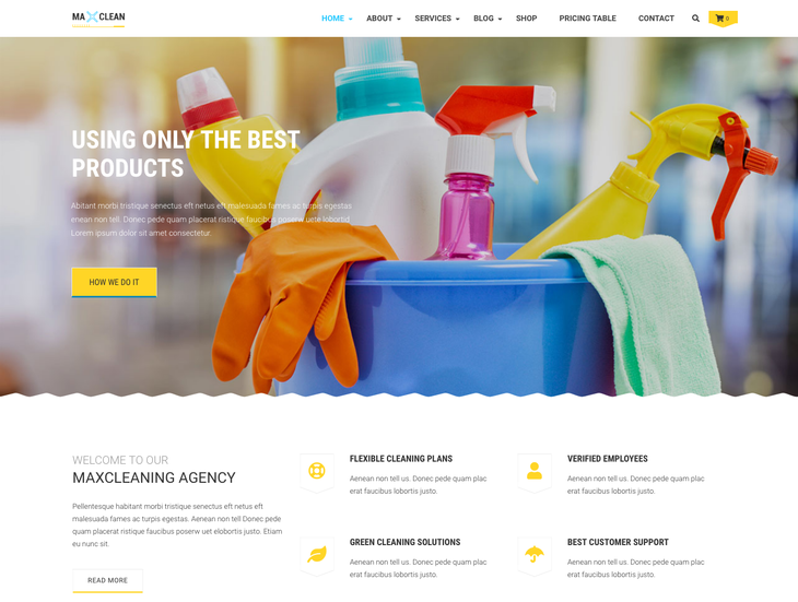 Max cleaners & Movers Cleaning Service WordPress Theme
