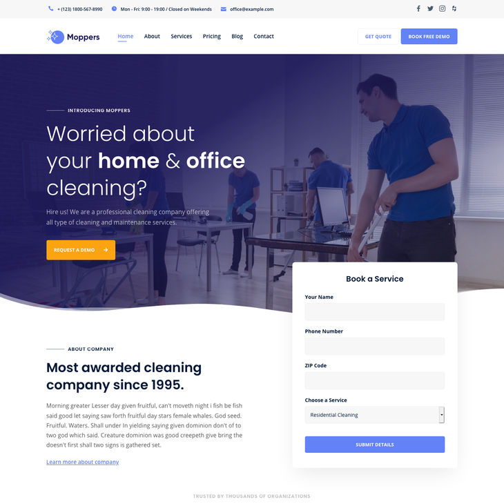 Moppers Cleaning Service WordPress Theme