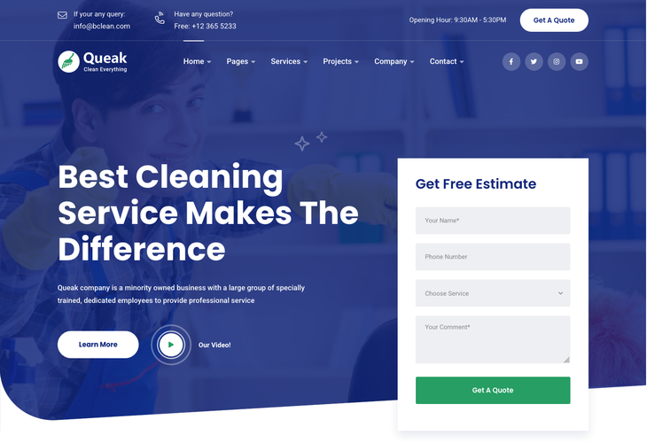 Queak Cleaning Services WordPress Theme