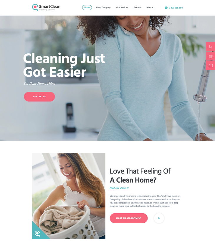 SmartClean Cleaning Service WordPress Theme
