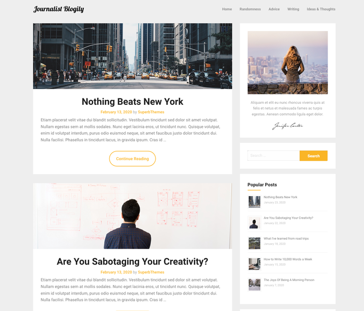 Journalist Blogily WordPress Themes for Writers and Authors