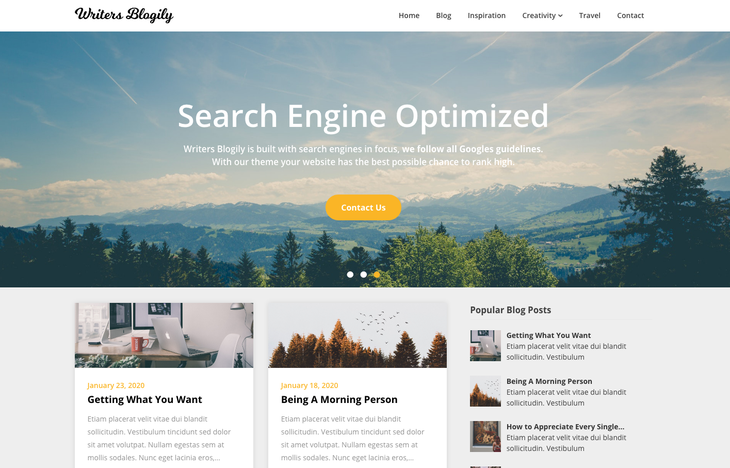 Writers Blogily WordPress Themes for Writers and Authors