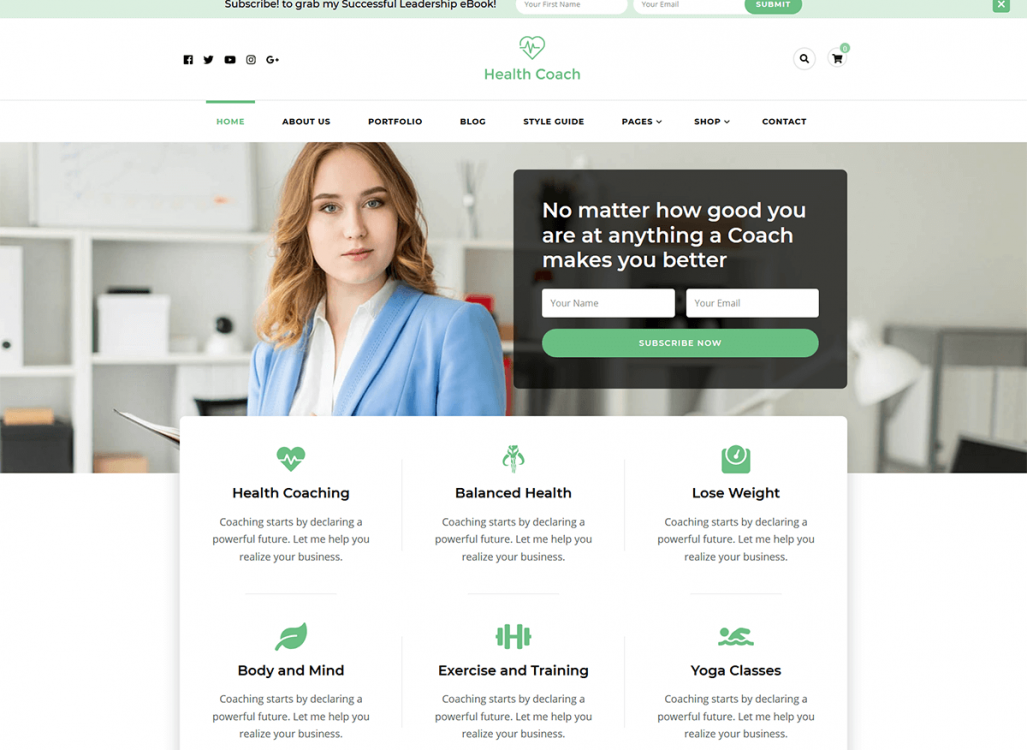 Blossom Health Coach WordPress Theme