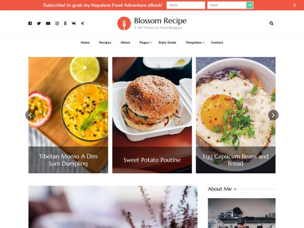 Blossom Recipe WordPress Theme